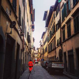 The view along Via del Porcellana where Botticelli lived and worked, photo by Mark Evans, 2016. © Victoria and Albert Museum, London